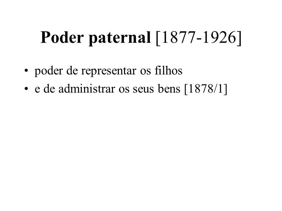Poder paternal [1877-1926] poder de representar os filhos